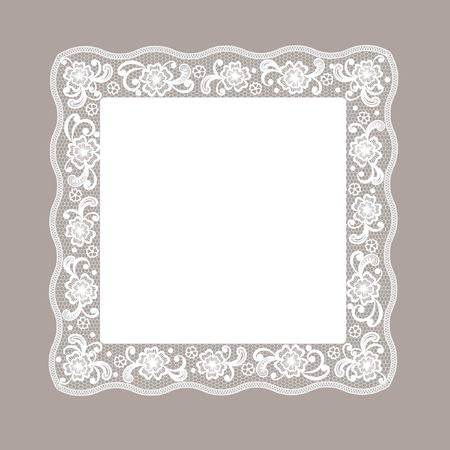 embroidery flower: Template frame  design for card  Vintage Lace Doily