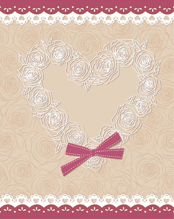roses and hearts: cute card with heart of roses Illustration