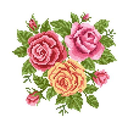 장미 꽃다발, 자수