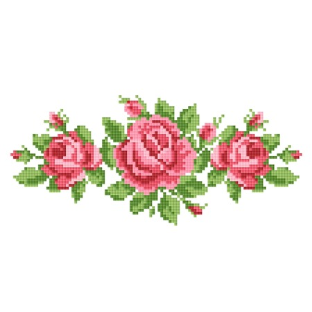 embroidery on fabric: bouquet of the roses, embroider