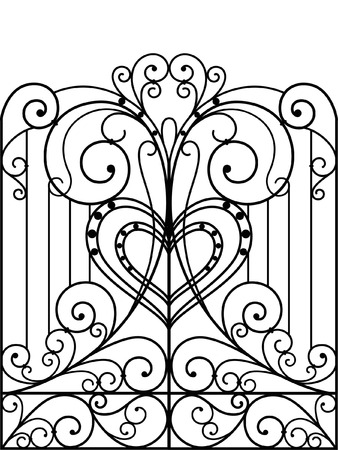 Puerta de hierro forjado, puerta, valla