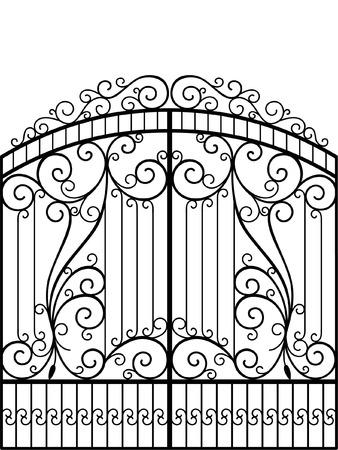 Wrought Iron Gate, Door, Fence Vector