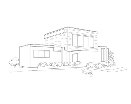 skatch of building Illustration