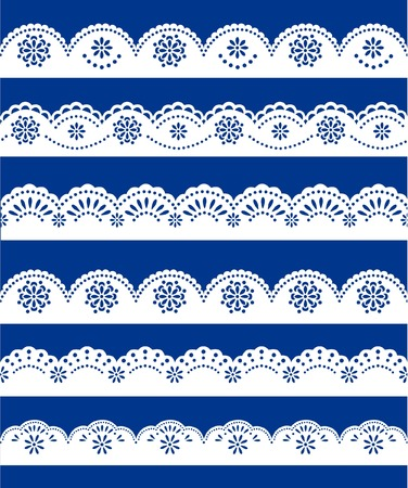lace ornaments set on blue Vector