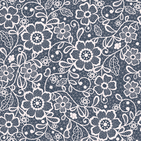 embroidery on fabric: seamless lace floral background Illustration