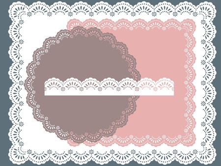 set of round, square lace frame Stock Illustratie