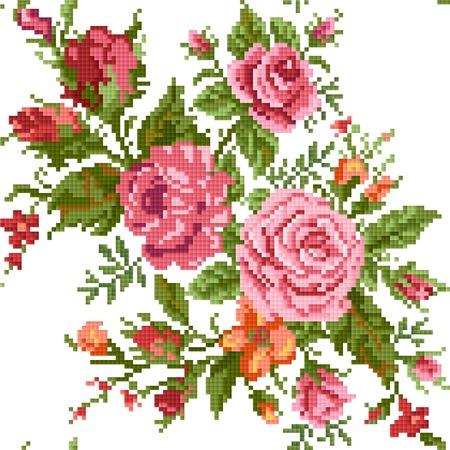 バラの花束とシームレスな抽象的なフローラル背景刺繍します。  イラスト・ベクター素材