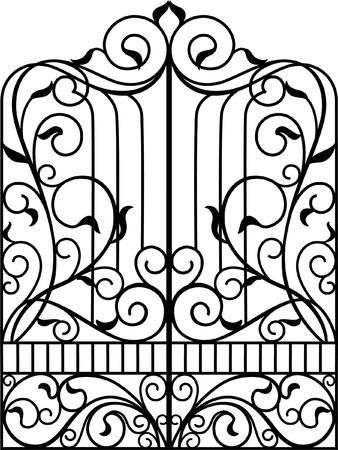 verschnörkelt: Schmiedeeisen Tor, Tür, Zaun