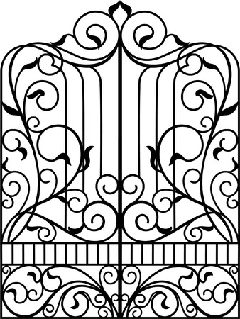 iron gate: Wrought Iron Gate, Door, Fence