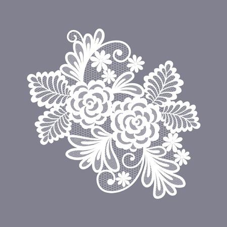 encaje: encaje elemento decorativo floral Vectores