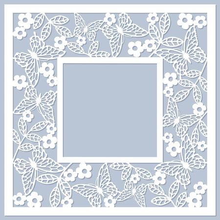 floral frame with butterfly Ilustração