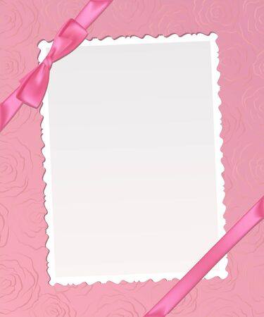 chequered ribbon: Template  frame design  for card.. Illustration