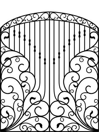 Schmiedeeisen Tor, Tür, Zaun Vektorgrafik