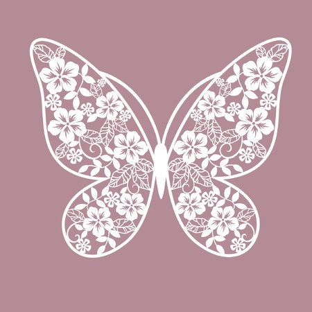 rose butterfly: card with stylization butterfly Illustration
