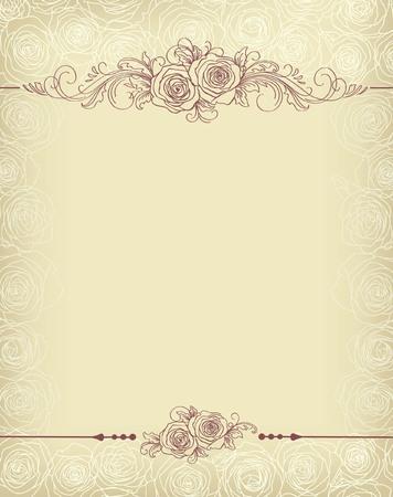 floral frame with roses Иллюстрация
