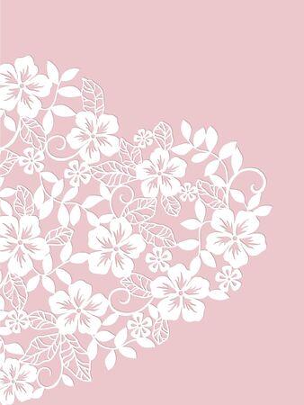 carte d'invitation avec le coeur des fleurs