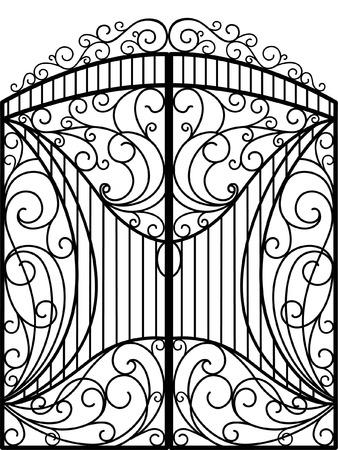 Kute Iron Gate, drzwi, ogrodzenia Ilustracje wektorowe