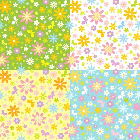 manic: set of seamless floral background