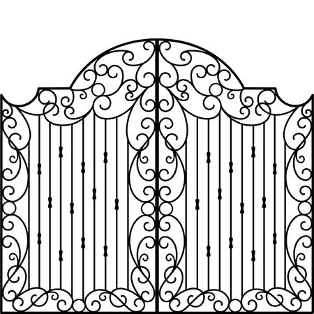 portones: Puerta de hierro forjado, puerta, valla