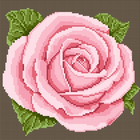 lappet: pink rose. embroidery