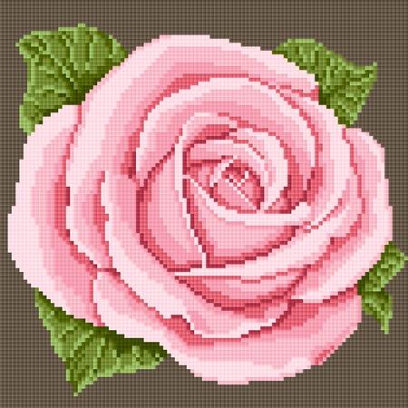 bordado: Rosa rosada. bordado