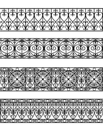 iron fence: vintage border set for design
