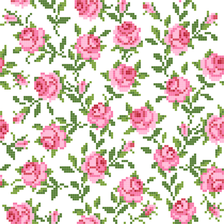seamless  floral   background with roses Illustration