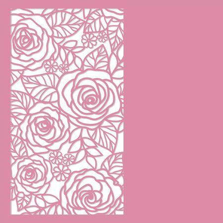 silhouette fleur: Carte avec des roses