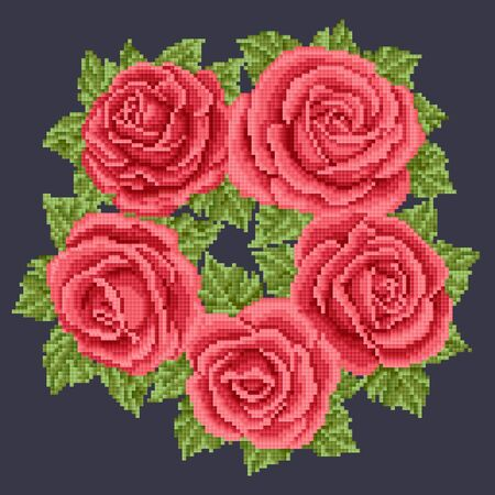 lappet: Bouquet of the red roses, embroider Illustration