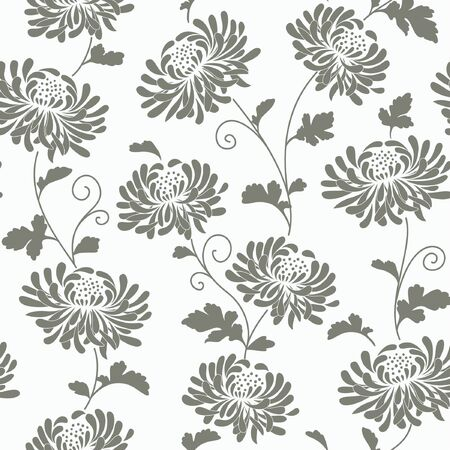 grey abstract background: seamless abstract floral background with chrysanthemums