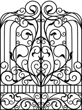 Portão de ferro forjado, porta, cerca