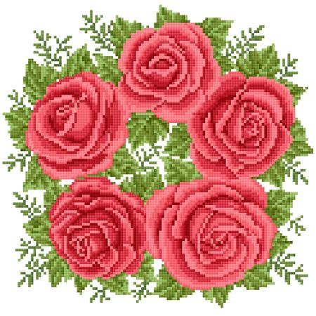 Bouquet of the red roses, embroider Illustration