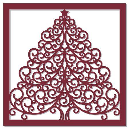 Christmas card with christmas tree Ilustração
