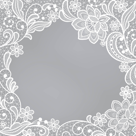 Template frame  design for card. Vintage Lace Doily