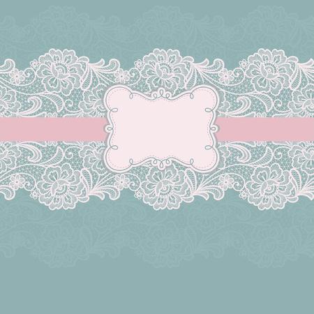 Template frame design for card. Vintage lace doily Ilustração