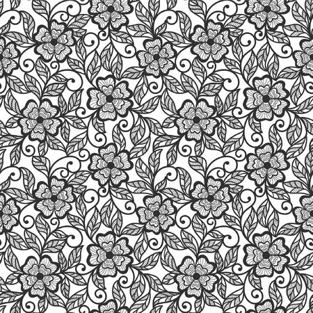 seamless abstract  floral background (black on white) Ilustração
