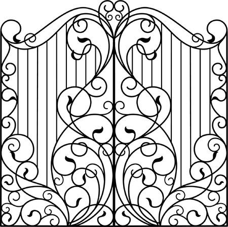 Brama z kutego żelaza, drzwi, ogrodzenie