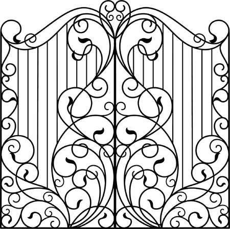 Wrought Iron Gate, Door, Fence Standard-Bild - 117097192