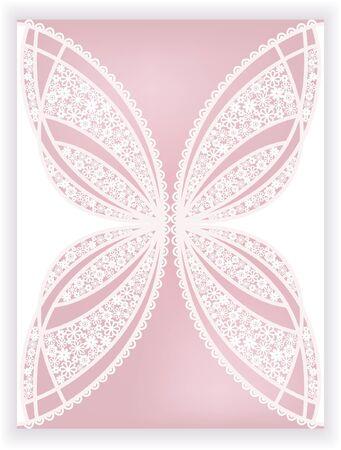 invitation card with stylization butterfly of flowers (laser cute) Ilustração