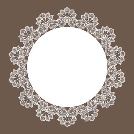 Template frame  design for card. Vintage Lace Doily