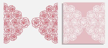 invitation card with  roses (laser cute) Illustration