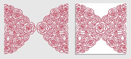 invitation card with  roses (laser cute) Ilustração
