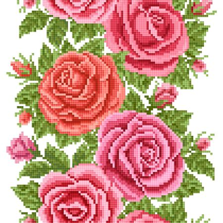 seamless  floral   background with roses, embroidery
