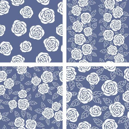 set of seamless  floral   background with roses