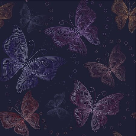 seamless dark background with butterfly Ilustração