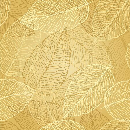 seamless abstract floral background with gold leves