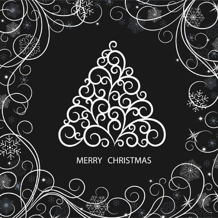 black card with Christmas tree and snowflakes