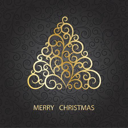 Christmas card with stylization christmas tree