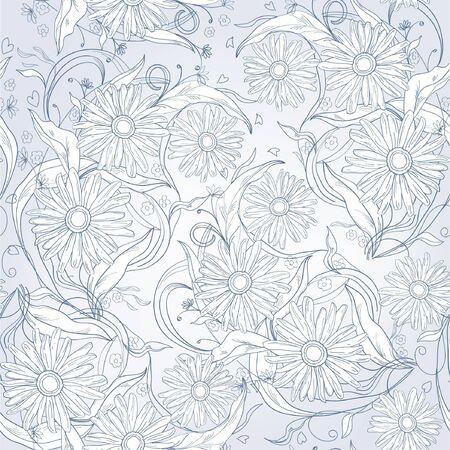 Seamless blue floral  background with chamomiles Ilustração