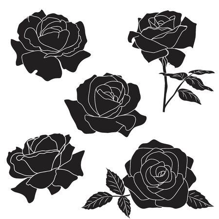 Rose dark silhouette against white Ilustração